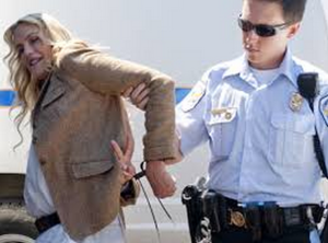 Hannah shown being arrested during a Keystone XL protest earlier this year.  She does oil, GMO, animal rights and just about any other cause that will have her.
